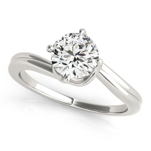 1 ct tw Solitaire Round Bypass Engagement Ring with F Color VS Clarity GIA Certified Diamond