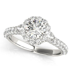 1 3/4 ct tw Halo Round Pave Engagement Ring with F Color VS Clarity GIA Certified Diamond