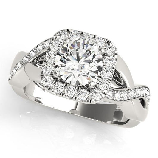 1/2 ct tw Halo Round  Engagement Ring with F Color VS Clarity GIA Certified Diamond