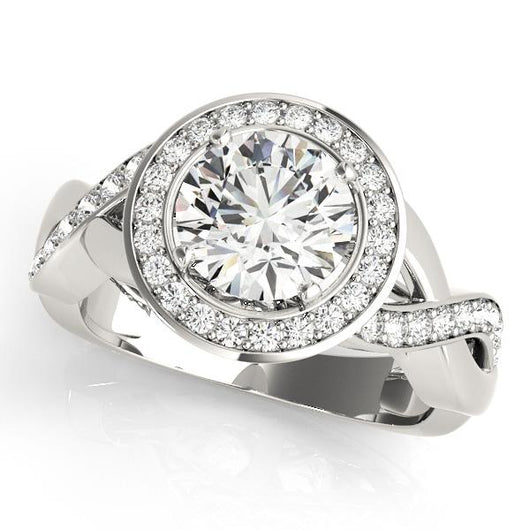 5/8 ct tw Halo Round Engagement Ring with F Color VS Clarity GIA Certified Diamond