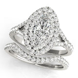 1 1/2 ct tw Halo Marquise Cut Diamond Engagement Ring with F Color VS Clarity Diamonds GIA Center Stone.