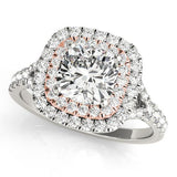 1 1/2 ct tw Halo Princess Cut Engagement Ring with F Color VS Clarity Diamonds GIA Center Stone.