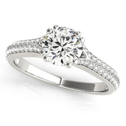1 1/5 ct tw MultiRow Pave Engagement Ring with F Color VS Clarity Diamonds GIA Center Stone.