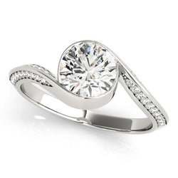 1 1/4 ct tw Bypass Pave Engagement Ring with F Color VS Clarity GIA Certified Diamond