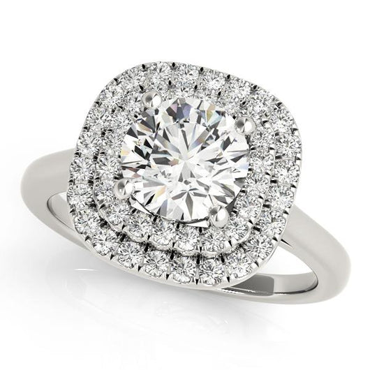 1 3/8 ct tw Halo Engagement Ring with F Color VS Clarity Diamonds GIA Center Stone.