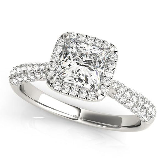 1 1/4 ct tw Halo  Pave Engagement Ring with F Color VS Clarity Diamonds GIA Center Stone.