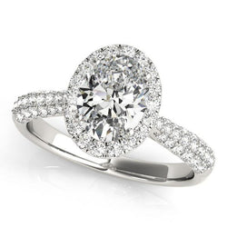 1 1/3 ct tw Halo Oval Pave Engagement Ring with F Color VS Clarity Diamonds GIA Center Stone.