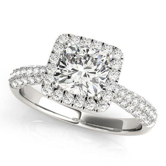 1 1/3 ct tw Halo Princess & Cushion Cut Pave  Engagement Ring with F Color VS Clarity GIA Certified Diamond