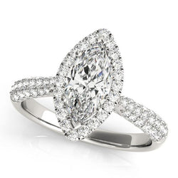 1 3/8 ct tw Halo Marquise Pave Engagement Ring with F Color VS Clarity GIA Certified Diamond