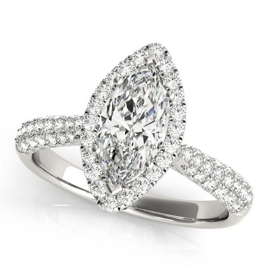 3/4 ct tw Halo Marquise Engagement Ring with F Color VS Clarity GIA Certified Diamond