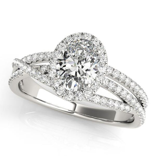 1 3/8 ct tw Halo OvalMultiRow   Engagement Ring with F Color VS Clarity GIA Certified Diamond