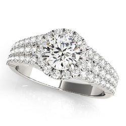 1 3/8 ct tw Halo Round Pave Engagement Ring with F Color VS Clarity GIA Certified Diamond