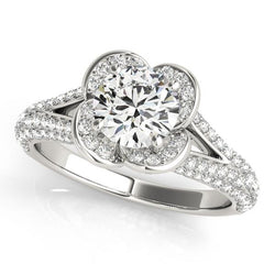 1 3/4 ct tw Halo Round Pave Engagement Ring with F Color VS Clarity Diamonds GIA Center Stone.