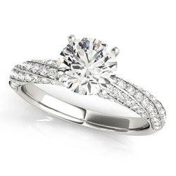 1 ct tw MultiRow   Pave Engagement Ring with F Color VS Clarity Diamonds GIA Center Stone.