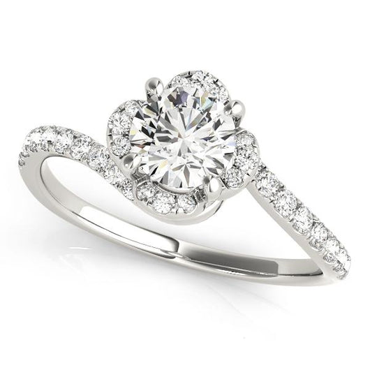1 1/3 ct tw Halo Round Bypass Engagement Ring with F Color VS Clarity Diamonds GIA Center Stone.