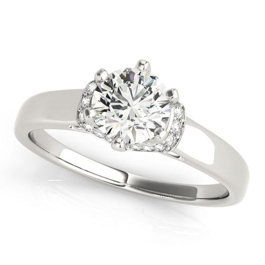 5/8 ct tw Single Row Prong Set Engagement Ring with F Color VS Clarity Diamonds GIA Center Stone.