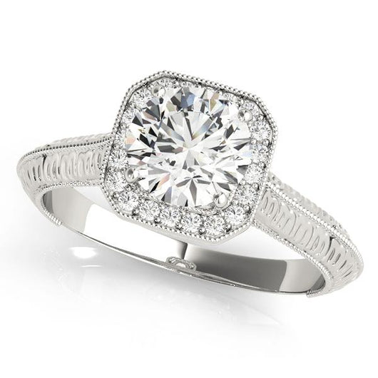1 ct tw Halo Round Engagement Ring with F Color VS Clarity GIA Certified Diamond