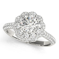 1 1/6 ct tw Halo Round Diamond Pave Engagement Ring with F Color VS Clarity Diamonds GIA Center Stone.
