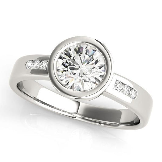 5/8 ct tw Single Row Channel Set Engagement Ring with F Color VS Clarity GIA Certified Diamond
