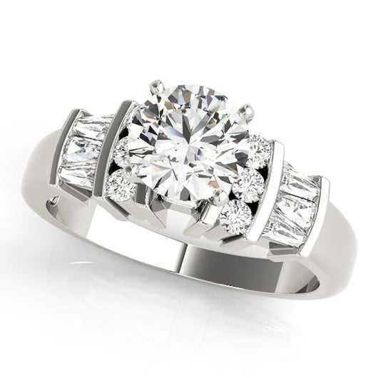 1/2 ct tw Baguette Remounts Engagement Ring with F Color VS Clarity GIA Certified Diamond