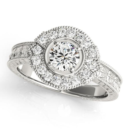 3/4 ct tw Antique Style Engagement Ring with F Color VS Clarity GIA Certified Diamond
