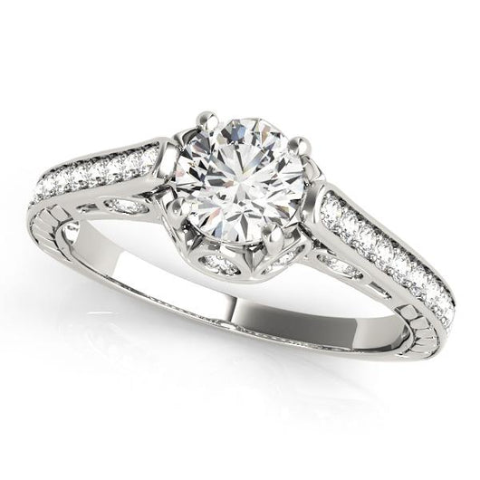 1 ct tw Antique Style Engagement Ring with F Color VS Clarity GIA Certified Diamond