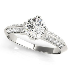 3/4 ct tw Pave Engagement Ring with F Color VS Clarity GIA Certified Diamond