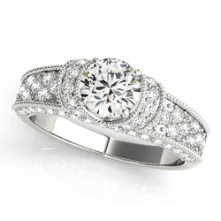 1 3/8 ct tw Pave Engagement Ring with F Color VS Clarity GIA Certified Diamond