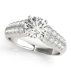 3/8 ct tw Pave Pave Engagement Ring with F Color VS Clarity GIA Certified Diamond