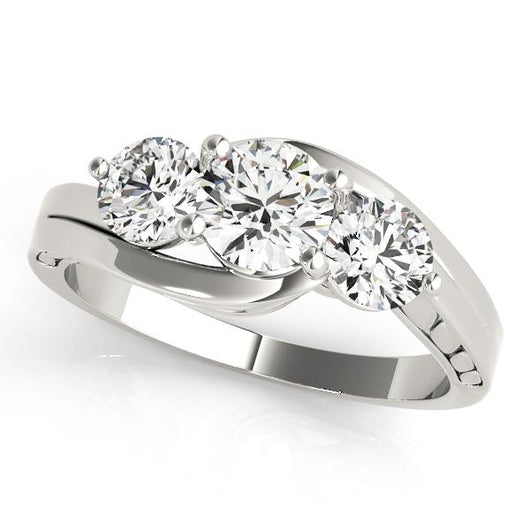1 ct tw Three Stone  Round Engagement Ring with F Color VS Clarity GIA Certified Diamond