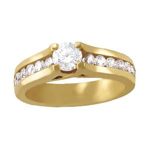 1 ct tw Single Row Channel Set Engagement Ring with F Color VS Clarity GIA Certified Diamond