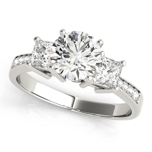 5/8 ct tw Three Stone  Princess Engagement Ring with F Color VS Clarity GIA Certified Diamond