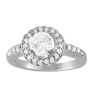 1 1/3 ct tw Halo Round Engagement Ring with F Color VS Clarity GIA Certified Diamond