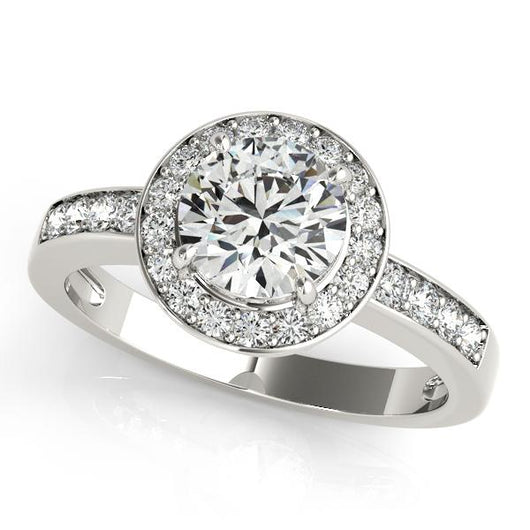 1 3/8 ct tw Halo Round Engagement Ring with F Color VS Clarity GIA Certified Diamond