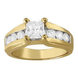1 7/8 ct tw Single Row Channel Set Engagement Ring with F Color VS Clarity GIA Certified Diamond