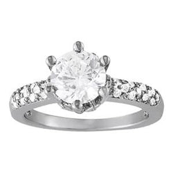 1 1/4 ct tw Pave Engagement Ring with F Color VS Clarity GIA Certified Diamond