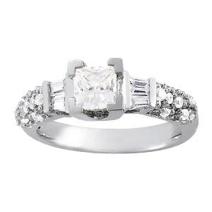 1 1/2 ct tw Baguette Remounts Color Stone  Marquise Engagement Ring with F Color VS Clarity GIA Certified Diamond