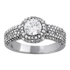 1 5/8 ct tw Pave Engagement Ring with F Color VS Clarity GIA Certified Diamond