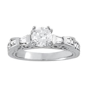 1 1/5 ct tw Antique Style Engagement Ring with F Color VS Clarity GIA Certified Diamond