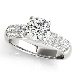 1 1/2 ct tw Pave Engagement Ring with F Color VS Clarity GIA Certified Diamond