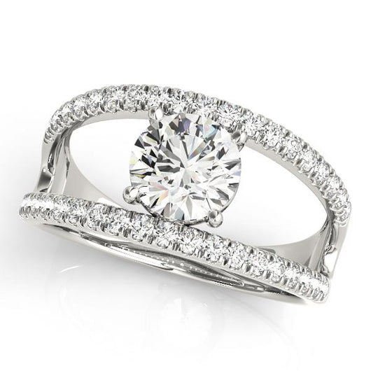1 1/3 ct tw MultiRow Engagement Ring with F Color VS Clarity GIA Certified Diamond