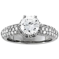 7/8 ct tw Pave Engagement Ring with F Color VS Clarity GIA Certified Diamond