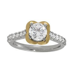 1 1/4 ct tw Single Row Prong Set Engagement Ring with F Color VS Clarity Diamonds GIA Center Stone.