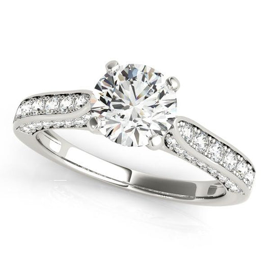 7/8 ct tw Single Row Prong Set Engagement Ring with F Color VS Clarity GIA Certified Diamond