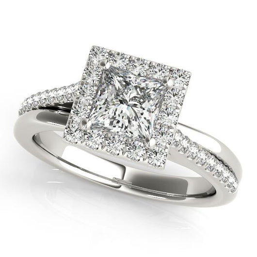 1 1 3 Ct Tw Halo Princess Cut Engagement Ring With F Color Vs Clarity Diamonds Gia Center Stone