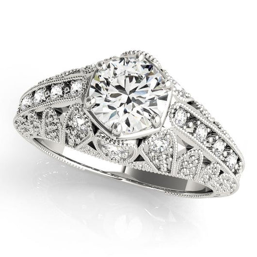 7/8 ct tw Antique Style Engagement Ring with F Color VS Clarity GIA Certified Diamond