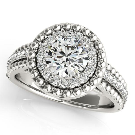 1 1/5 ct tw Halo Round Engagement Ring with F Color VS Clarity GIA Certified Diamond
