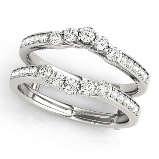 1/2 ct tw  Wedding Bands Wraps & Inserts Engagement Ring with F Color VS Clarity GIA Certified Diamond