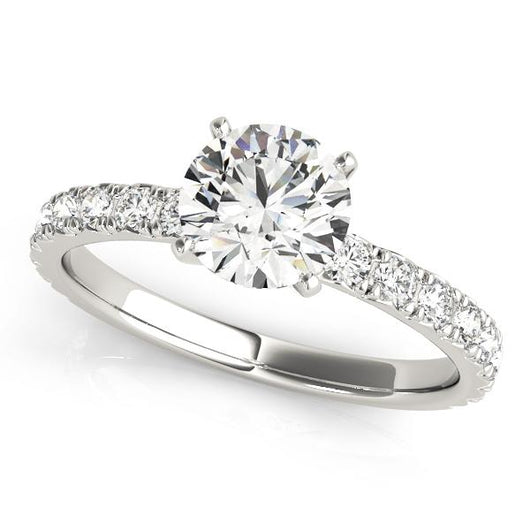 2 1/3 ct tw Single Row Prong Set Engagement Ring with F Color VS Clarity Diamonds GIA Center Stone.
