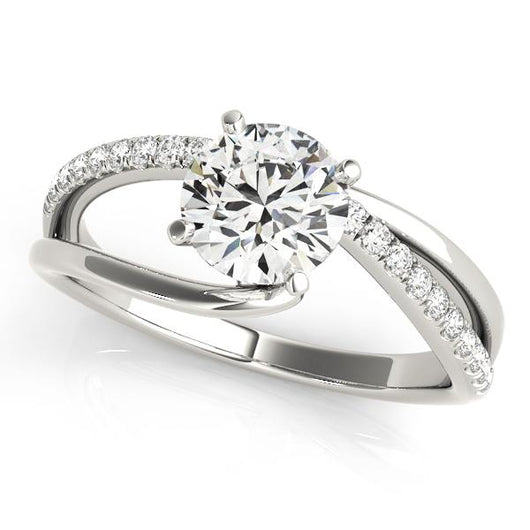 3/8 ct tw Bypass Single Row Prong Set Engagement Ring with F Color VS Clarity Diamonds GIA Center Stone.